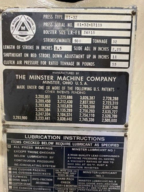 1 - Minster B1-32 Gap Frame Press
