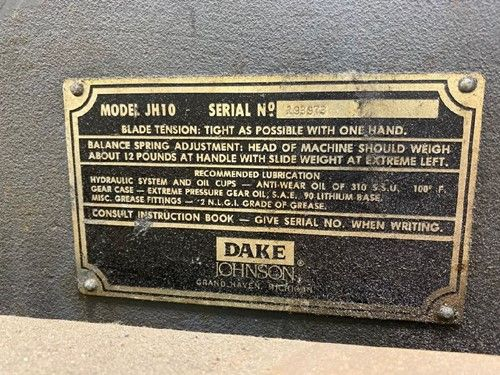 1 - Dake Johnson JH10 Horizontalbandsäge