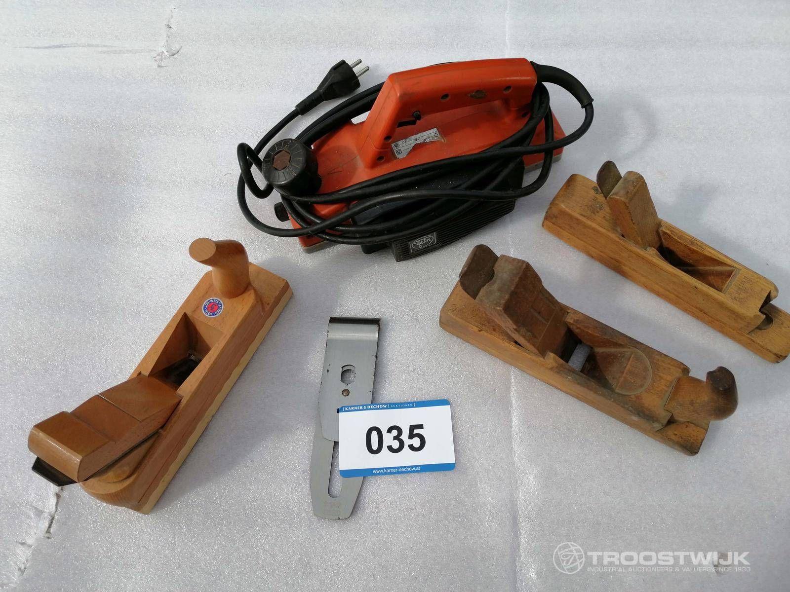 3 Stk. Handhobel, 1 Stk. Elektrohobel