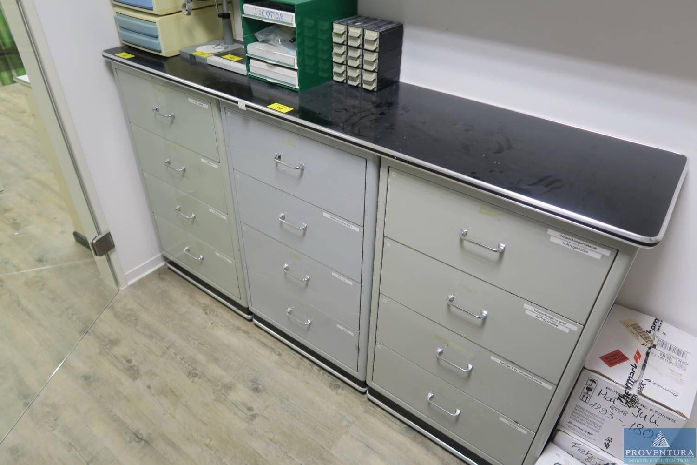 Schubladenschrank Metall schwarz / grau