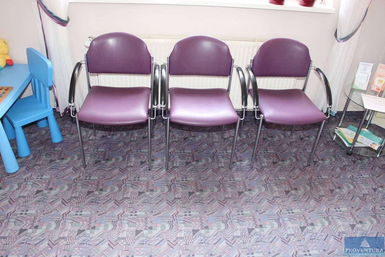 Wartestuhlgruppe BRUNE Leder/violett