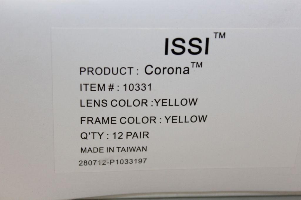 12 Paar gelbe ISSI (Corona) Schutzbrille. EIN