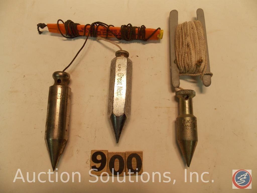 (3) Plumb Bobs (Stahl) einschließlich Miller Falls - Exact 4 oz - Great Neck 8p8 8 oz