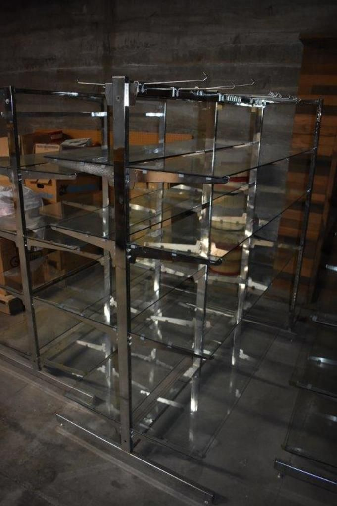 (3) Lozier Steel With Glass Shelving Shelving Units