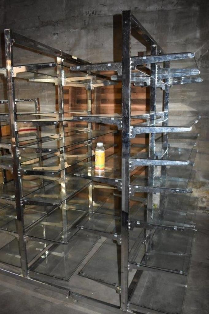 (2) Lozier Steel With Glass Shelving Shelving Units