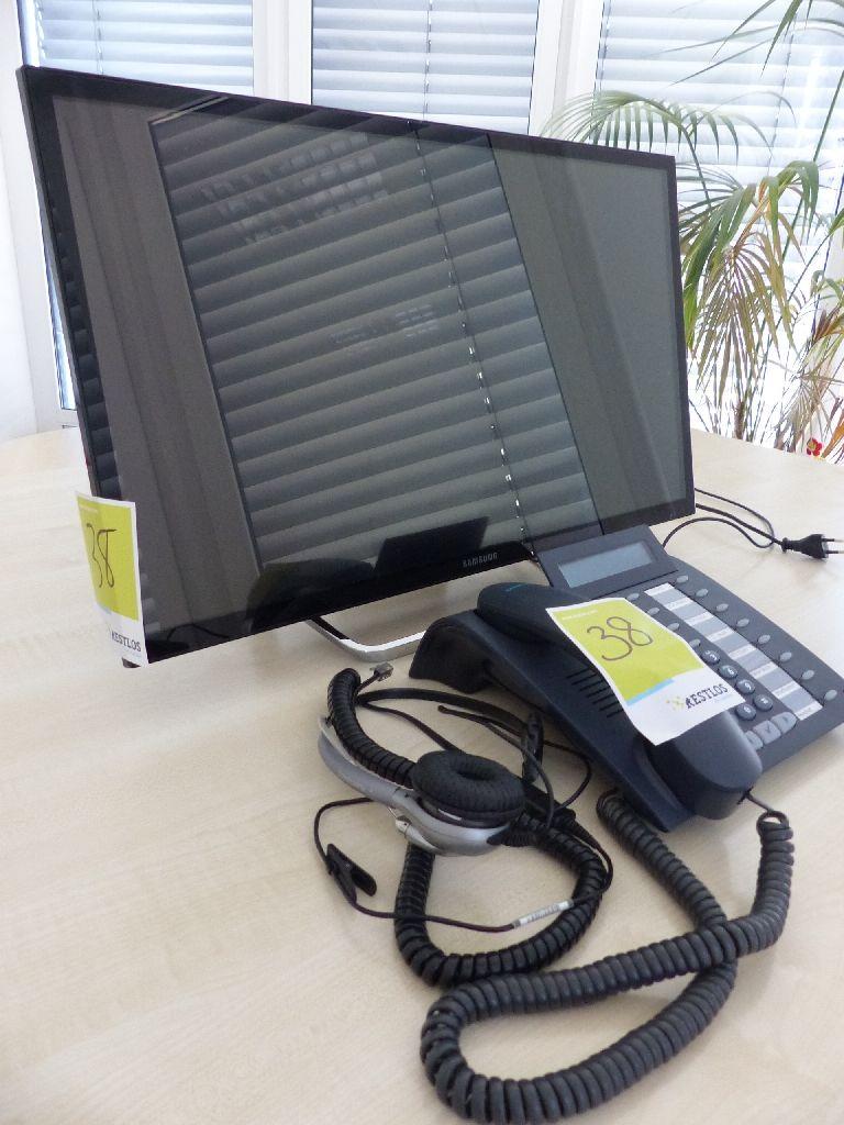 Samsung LED Monitor und Siemens Systemtelefon