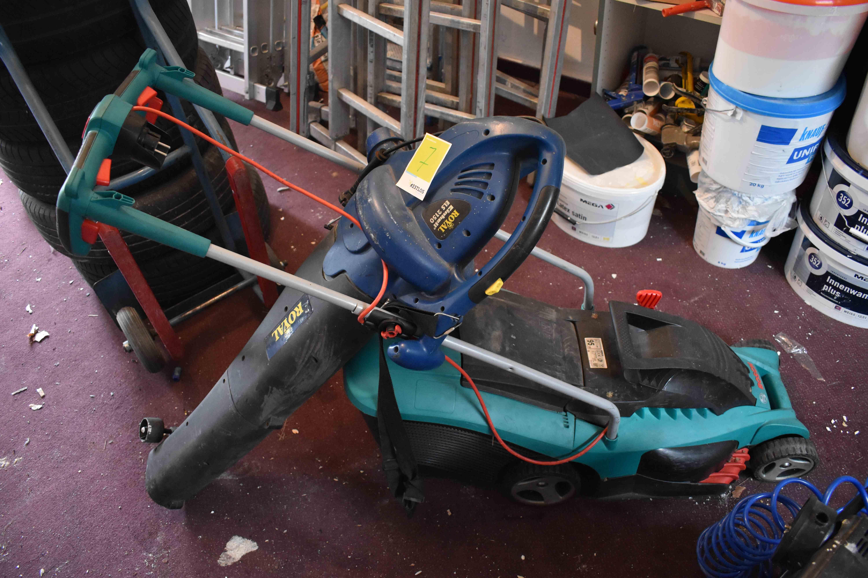 Bosch Elektrorasenmäher und Einhell Laubsauger