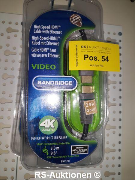 1 Stk. High Speed HDMI Kabel mit Ethernet BANDRIDGE