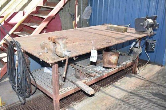 Stahlarbeitstisch, enthält Doppelendschleifer, 6