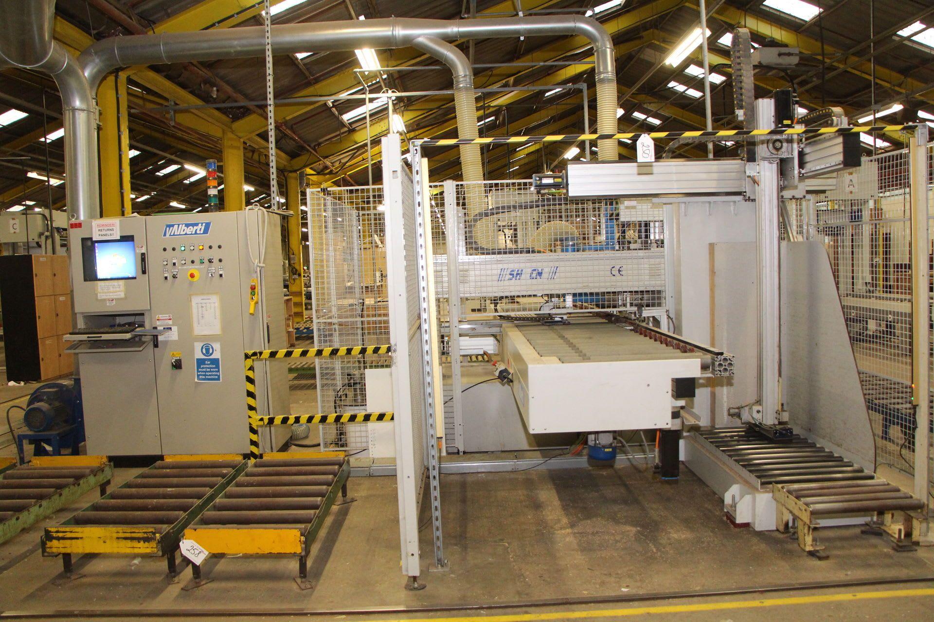 ALBERTI VECTOR-SH CNC-Längsdurchlauf-Bohr- und Eintreibmaschine