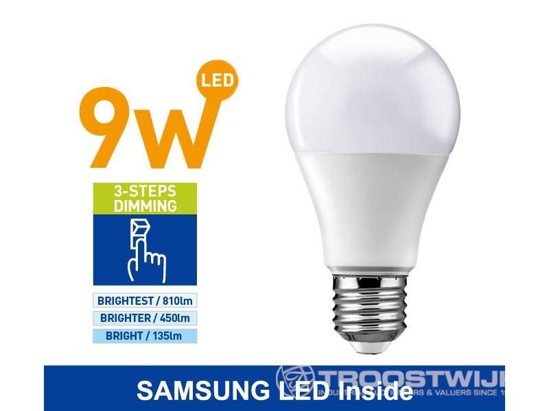9W SAMSUNG LED E27 Birnen; 3 Stufen Dimmer mit ON / OFF; Warmweiß