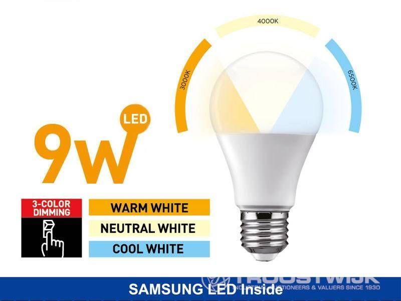 9W SAMSUNG LED E27 Birnen; 3 in 1 warmweiß / neutralweiß / weiß; Dimmer mit ON / OFF