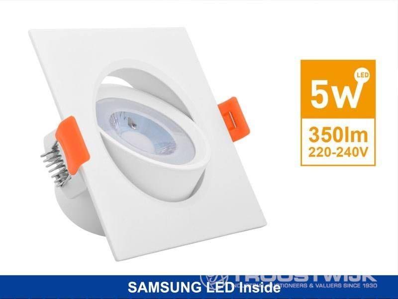 5W SAMSUNG LED-Einbaupaneele; Weißes Quadrat; Warmweiß