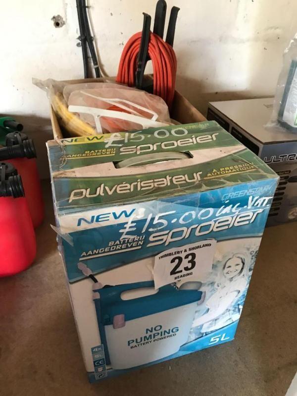 Anzahl Verlängerungskabel & 5 Liter batteriebetriebenes Spritzgerät, neu, verpackt