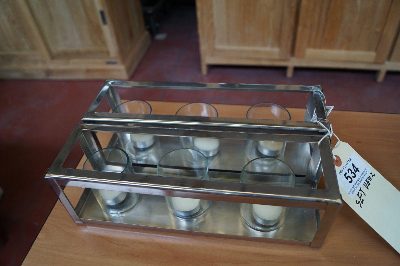 2 Teelichthalter in Chrom mit 2 x 3 Gläsern 30 Br