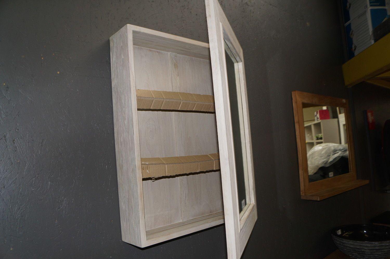 1 Spiegelschrank Mindy Teak grau Wash 60x80 1 Tür