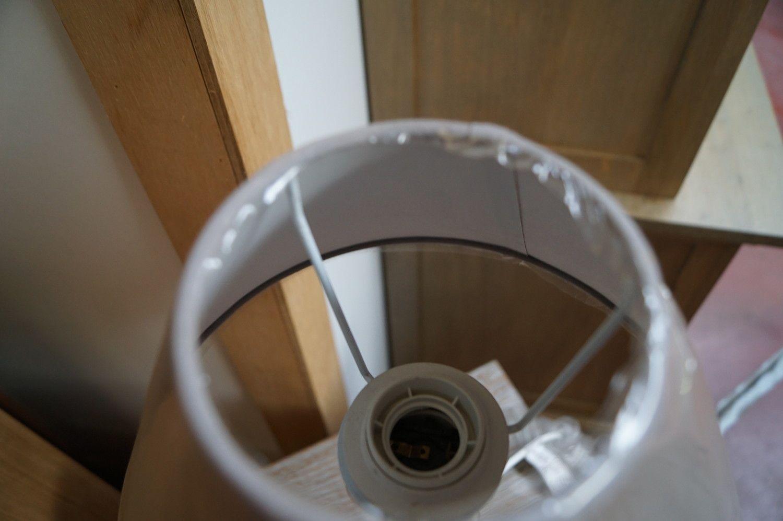 1 Lampenschirm Holzsockel Vintage weiß 45 H
