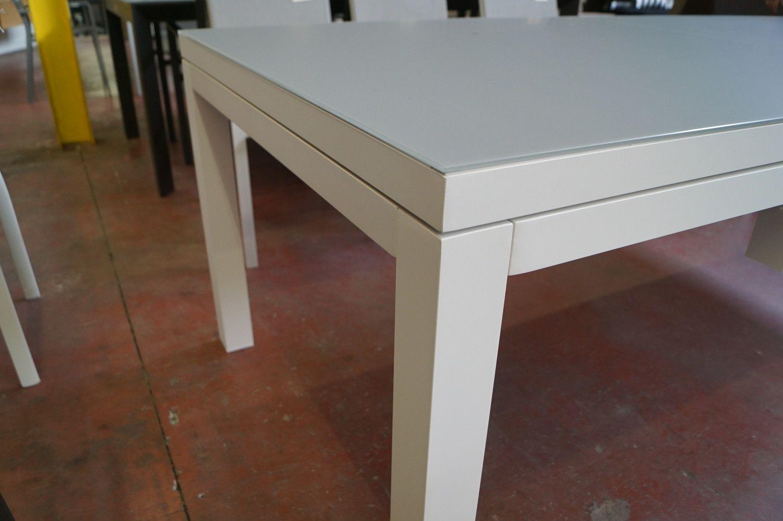1 Alu ausziehbarer Tisch Gestell Weißes Hartglas Hellgrau