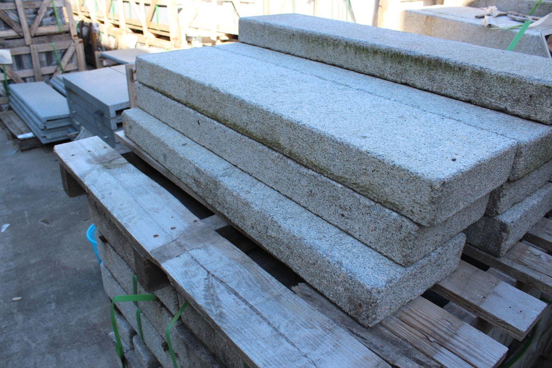 10 Stück Randstein 100x8x25 hellgrauer Granit