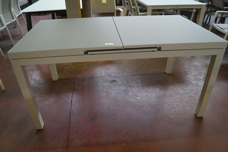 1 Alu Gartentisch ausziehbares Gestell weiß + Glas hellgrau
