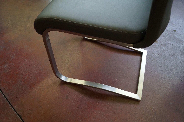 2 Schlittensitze Edelstahlrahmen Lederoptik grau
