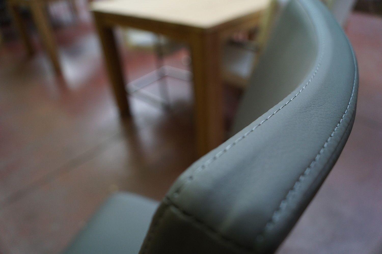 2 Schlittensitze Edelstahlrahmensitz Leder grau