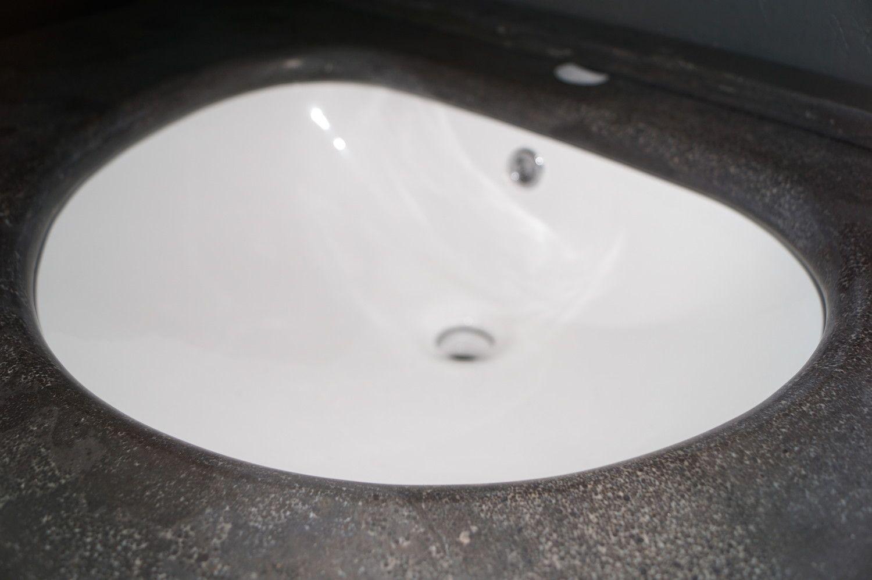 1 Badezimmermöbel grau Waschtisch blau Stein + weiß Washba